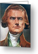 Cravat Greeting Cards - Thomas Jefferson (1743-1826) Greeting Card by Granger