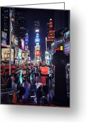 Advertisements Greeting Cards - Times Square Greeting Card by Benjamin Matthijs