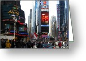 New York Signs Greeting Cards - Times Square Greeting Card by RicardMN Photography