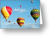 Balloon Fiesta Greeting Cards - 3 Together Greeting Card by Jim Chamberlain