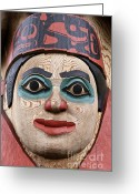 Custom Culture Greeting Cards - Totem pole detail Greeting Card by John Greim