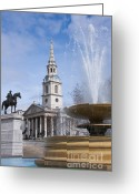 Trafalgar Greeting Cards - Trafalgar square fountain Greeting Card by Andrew  Michael