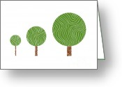 Brown Drawings Greeting Cards - 3 Trees Greeting Card by Frank Tschakert