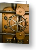 Entrance Door Greeting Cards - Tumbler on a Vault Door Greeting Card by Adam Crowley