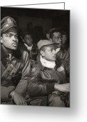 Black Jacket Greeting Cards - Tuskegee Airmen, 1945 Greeting Card by Granger