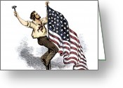 Flag Raising Greeting Cards - U.S. FLAG, 19th CENTURY Greeting Card by Granger