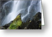 Bodies Greeting Cards - Waterfall of Vaucoux. Puy de Dome. Auvergne. France Greeting Card by Bernard Jaubert