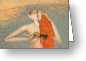 Japan Painting Greeting Cards - Wet Hair Greeting Card by Nicolay  Reznichenko