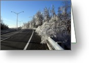 Winter Road Greeting Cards - Winter Greeting Card by Sokol Agolli