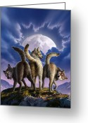 Twilight Greeting Cards - 3 Wolves Mooning Greeting Card by Jerry LoFaro
