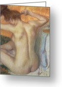 Chalk Pastels Greeting Cards - Woman combing her hair Greeting Card by Edgar Degas