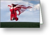 Brown Hair Greeting Cards - Woman in Red Series Greeting Card by Cindy Singleton