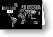 Contemporary Greeting Cards - World Map in Words Greeting Card by Michael Tompsett