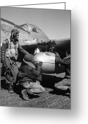Cap Photo Greeting Cards - Wwii: Tuskegee Airmen, 1945 Greeting Card by Granger