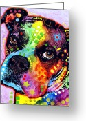 Colorful Mixed Media Greeting Cards - Young Boxer Greeting Card by Dean Russo