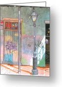 Food Pastels Greeting Cards - 30  French Quarter Graffiti  Greeting Card by John Boles