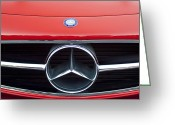 Mercedes Benz 300 Sl Classic Car Greeting Cards - 300 Mercedes-Benz SL Roadster Hood Emblem Greeting Card by Jill Reger