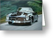 Mercedes Benz 300 Sl Classic Car Greeting Cards - 300 SL Cabriolet Greeting Card by Antje Wieser