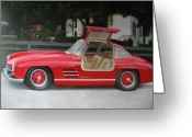 Mercedes Benz 300 Sl Classic Car Greeting Cards - 300 SL Gullwing - Classic Car - Mercedes Benz Greeting Card by Antje Wieser