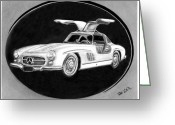 Graphite Greeting Cards - 300 SL Gullwing Greeting Card by Peter Piatt