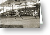 Baseball Game Greeting Cards - George H. Ruth (1895-1948) Greeting Card by Granger