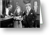 Bottle Cap Greeting Cards - Silent Film Still: Drinking Greeting Card by Granger