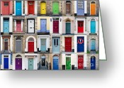 Knobs Greeting Cards - 32 Front Doors Horizontal Collage  Greeting Card by Richard Thomas