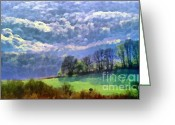 Winter Photos Painting Greeting Cards - Landscape Greeting Card by Odon Czintos