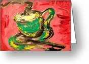 Leaned Greeting Cards Greeting Cards - Coffee Greeting Card by Mark Kazav