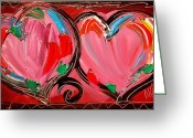 Black And White Photos Painting Greeting Cards - Hearts Greeting Card by Mark Kazav