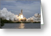 Spacecraft Greeting Cards - Space Shuttle Atlantis Lifts Greeting Card by Stocktrek Images