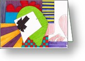 Marker Paper Drawings Greeting Cards - Untitled Greeting Card by Teddy Campagna
