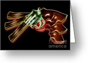 Clint Greeting Cards - 357 Magnum - Electric Greeting Card by Wingsdomain Art and Photography
