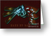 Clint Eastwood Greeting Cards - 357 Magnum - Make My Day - Painterly Greeting Card by Wingsdomain Art and Photography