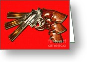 Criminals Greeting Cards - 357 Magnum - Painterly - Red Greeting Card by Wingsdomain Art and Photography