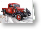 Pickup Painting Greeting Cards - 36 Dodge Greeting Card by Ferrel Cordle
