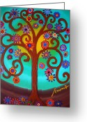 Cartera Greeting Cards - Tree Of Life Greeting Card by Pristine Cartera Turkus