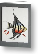 Original Ceramics Greeting Cards - 361 Tile with Fishes Greeting Card by Wilma Manhardt
