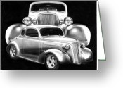 Hot Rod Drawings Greeting Cards - 37 Double C Greeting Card by Peter Piatt