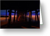 San Clemente Pier Greeting Cards - 3am Greeting Card by Lon Lovett