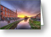 Sunset Framed Prints Greeting Cards - 3M Building Sunrise 2.0 Greeting Card by Yhun Suarez