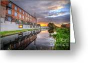 Sunset Framed Prints Greeting Cards - 3M Building Sunrise Greeting Card by Yhun Suarez