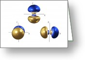 Quantum Mechanics Greeting Cards - 3p Electron Orbitals Greeting Card by Dr Mark J. Winter