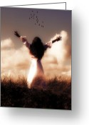 Glowing Greeting Cards - Angel Greeting Card by Joana Kruse
