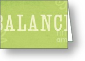 Plaque Greeting Cards - Balance Greeting Card by Linda Woods