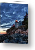 Bass Harbor Greeting Cards - Bass Harbor Lighthouse Greeting Card by John Greim