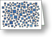 Dark Drawings Greeting Cards - Blue Abstract Greeting Card by Frank Tschakert