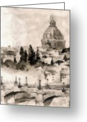 Winter Photos Painting Greeting Cards - By Italy Greeting Card by Odon Czintos