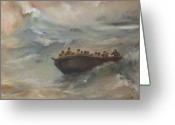 Boat Greeting Cards - Calming the storm Greeting Card by Tigran Ghulyan