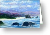Waves Pastels Greeting Cards - Cannon Beach Greeting Card by David Patterson